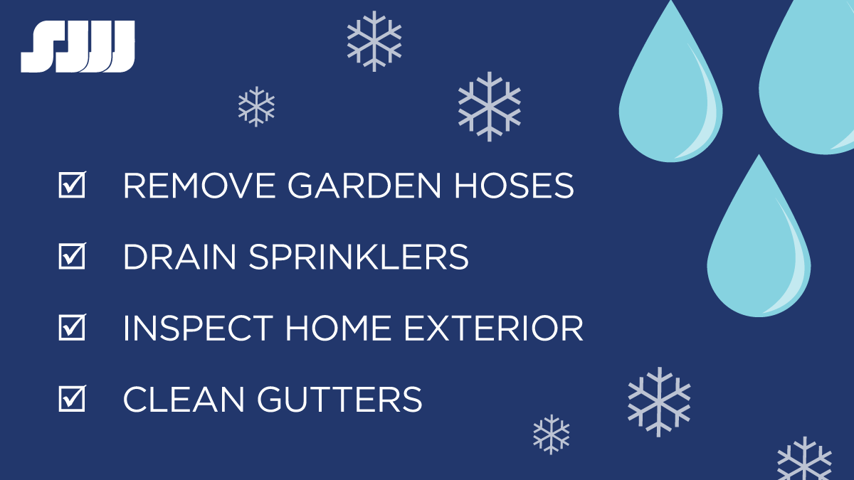 Winter Safety Tips: remove garden hoses, drain sprinklers, inspect home exterior and clean gutters